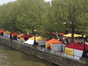 Street vendors alongside the River Thames.